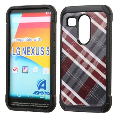 Insten Diagonal Plaid Hard Hybrid Rubberized Silicone Cover Case For LG Google Nexus 5X, Gray/Red