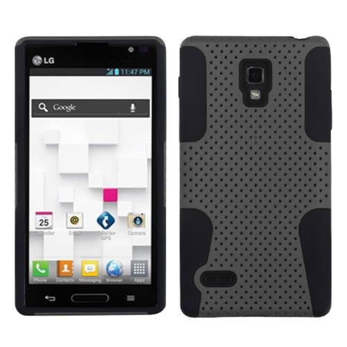 Insten Astronoot Mesh Hard Hybrid Rubber Coated Silicone Case For LG Optimus L9 P769, Gray/Black