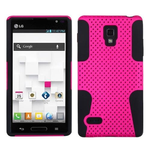 Insten Astronoot Mesh Hard Hybrid Rubber Coated Silicone Case For LG Optimus L9 P769, Hot Pink/Black