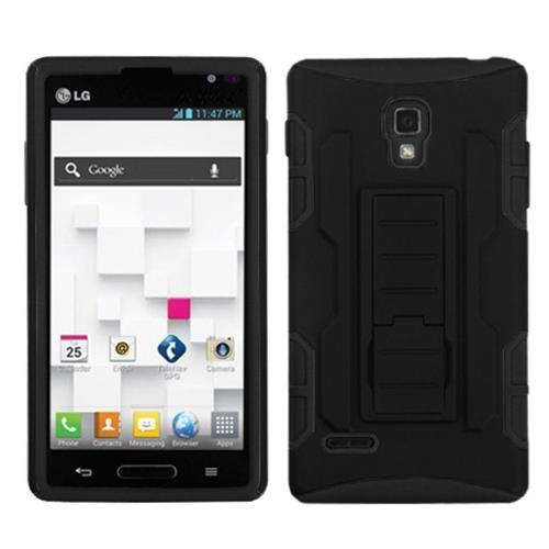 Insten Car Armor Hard Dual Layer Plastic Silicone Case w/stand For LG Optimus L9 P769, Black