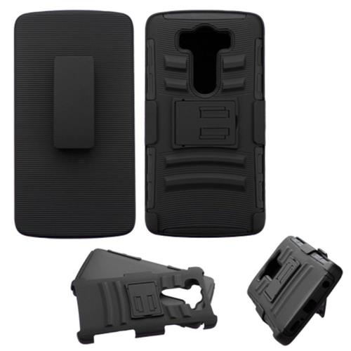 Insten Hard Hybrid Plastic Silicone Cover Case w/Holster For LG V10, Black