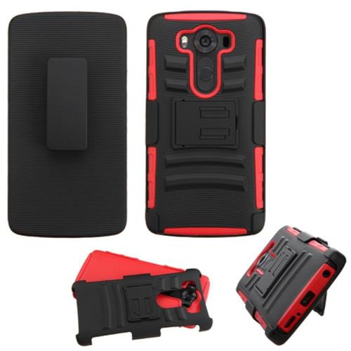 Insten Hard Hybrid Plastic Silicone Case w/Holster For LG V10, Black/Red