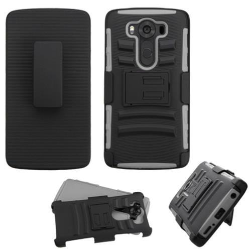 Insten Hard Dual Layer Plastic Silicone Cover Case w/Holster For LG V10, Black/Gray