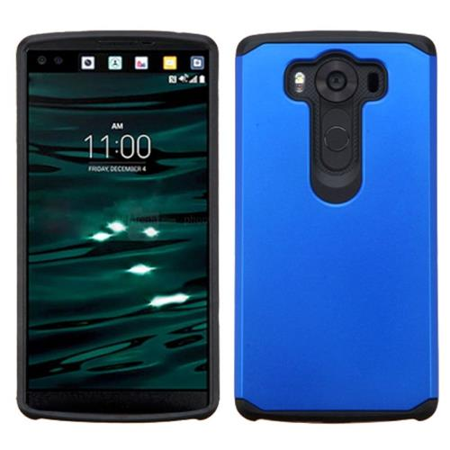Insten Hard Hybrid Rubber Silicone Cover Case For LG V10, Blue/Black