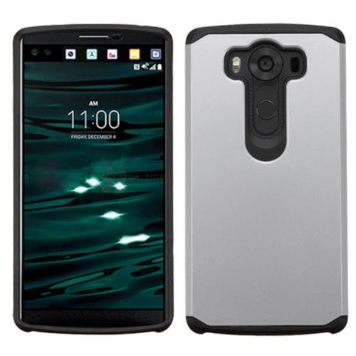 Insten Hard Dual Layer Rubberized Silicone Case For LG V10, Silver/Black