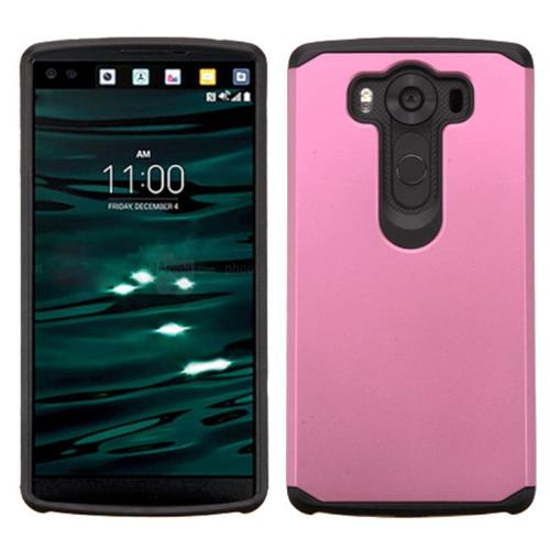 Insten Hard Hybrid Rubberized Silicone Case For LG V10, Pink/Black