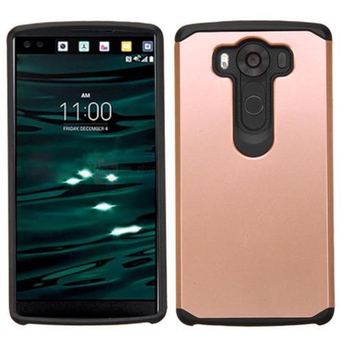 Insten Hard Hybrid Silicone Case For LG V10, Rose Gold/Black
