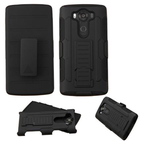 Insten Hard Hybrid Plastic Silicone Case w/Holster For LG V10, Black
