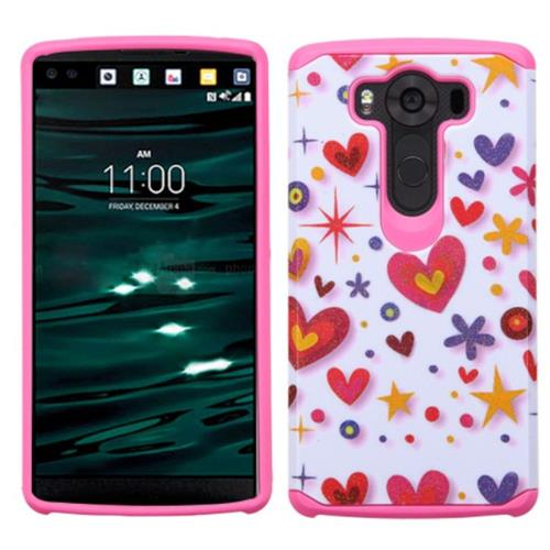 Insten Heart Graffiti Hard Hybrid Rubberized Silicone Cover Case For LG V10, Hot Pink/White