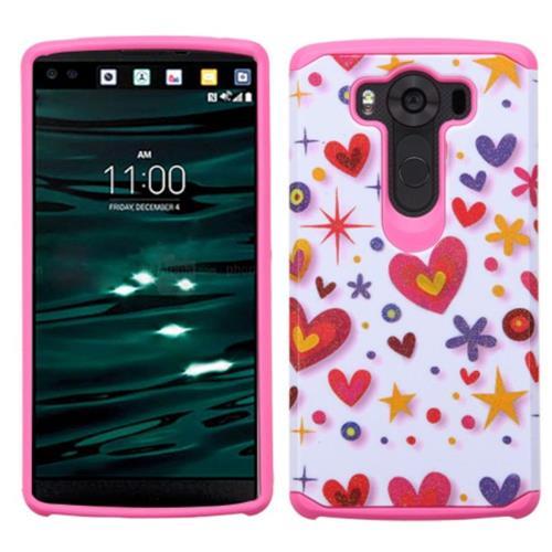 Insten Heart Graffiti Hard Hybrid Rubberized Silicone Cover Case For LG V10, Hot Pink/White