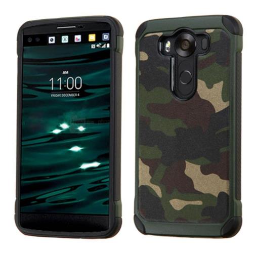 Insten Camouflage Hard Dual Layer Rubberized Silicone Cover Case For LG V10, Green/Black