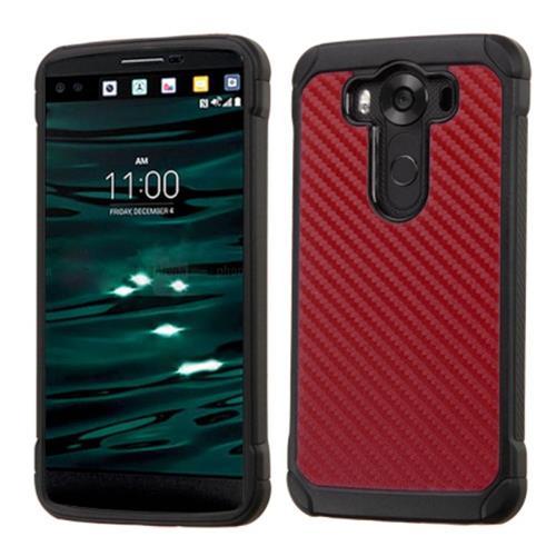 Insten Carbon Fiber Hard Hybrid Rubber Silicone Cover Case For LG V10, Red/Black