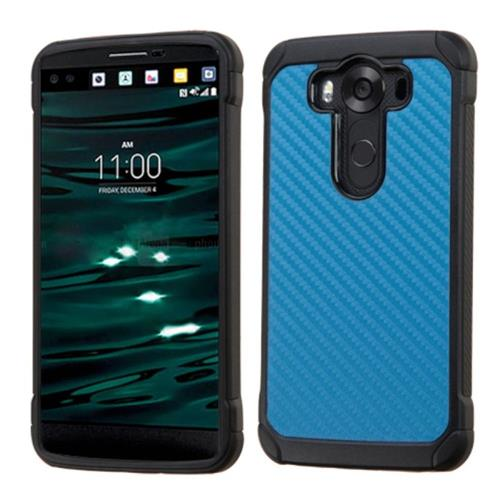 Insten Carbon Fiber Hard Hybrid Rubber Silicone Case For LG V10, Blue/Black
