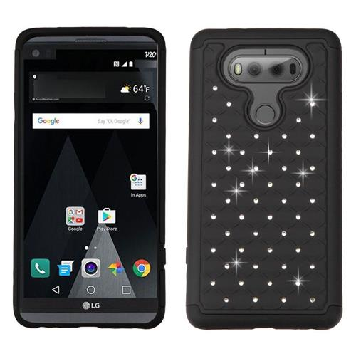 Insten Hard Dual Layer Rubberized Silicone Case w/Diamond For LG V20, Black