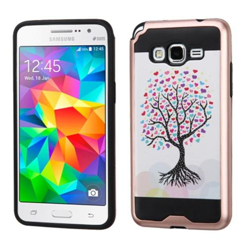 Insten Love Tree Hard Hybrid Rubber Coated Silicone Case For Samsung Galaxy Grand Prime, Pink/White