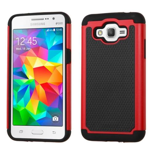 Insten Hard Dual Layer Rubber Coated Silicone Cover Case For Samsung Galaxy Grand Prime, Black/Red