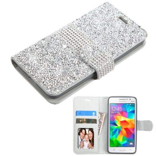Insten Flip Leather Rhinestone Case w/card slot/Photo Display For Samsung Galaxy Grand Prime, Silver
