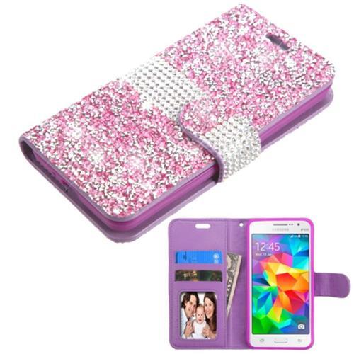 Insten Flip Leather Rhinestone Case w/card holder For Samsung Galaxy Grand Prime, Purple/Silver