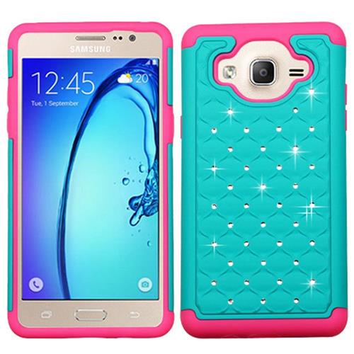 Insten Hard Hybrid Rubberized Silicone Cover Case w/Diamond For Samsung Galaxy On5, Teal/Pink
