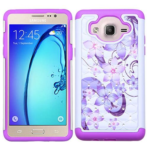 Insten Fitted Soft Shell Case for Samsung Galaxy On5 - Purple/White
