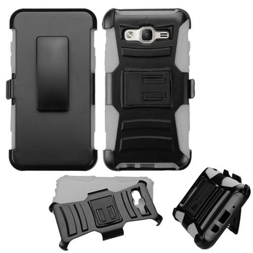 Insten Hard Dual Layer Plastic Silicone Cover Case w/Holster For Samsung Galaxy On5, Black/Gray