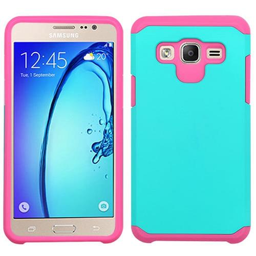 Insten Hard Dual Layer Rubber Silicone Cover Case For Samsung Galaxy On5, Teal/Hot Pink