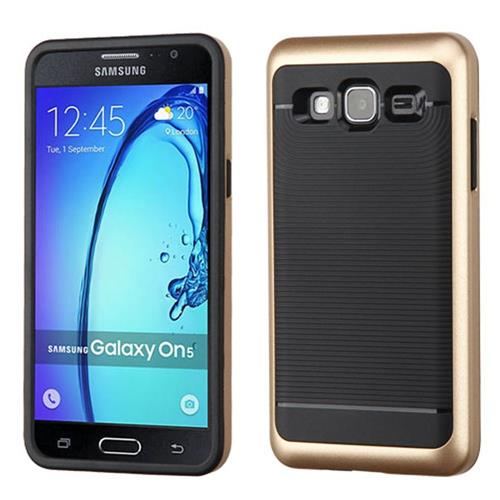 Insten Hard Dual Layer TPU Case For Samsung Galaxy On5, Gold/Black