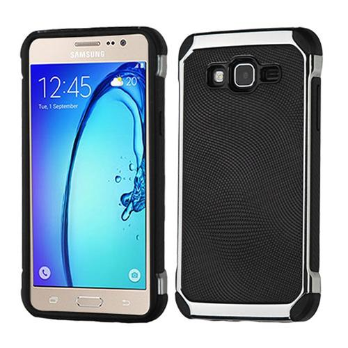 Insten Hard Hybrid TPU Case For Samsung Galaxy On5, Black/Silver