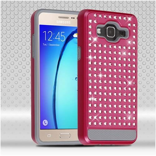 Insten Hard Hybrid Diamante Silicone Cover Case For Samsung Galaxy On5, Hot Pink/Gray