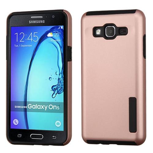 Insten Hard Dual Layer Rubberized Silicone Case For Samsung Galaxy On5, Rose Gold/Black
