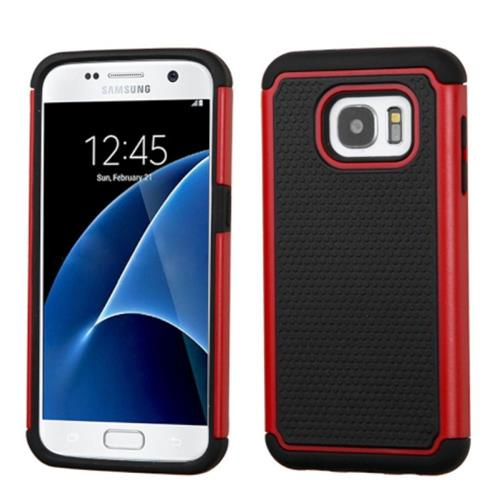Insten Hard Dual Layer Rubber Coated Silicone Cover Case For Samsung Galaxy S7, Black/Red