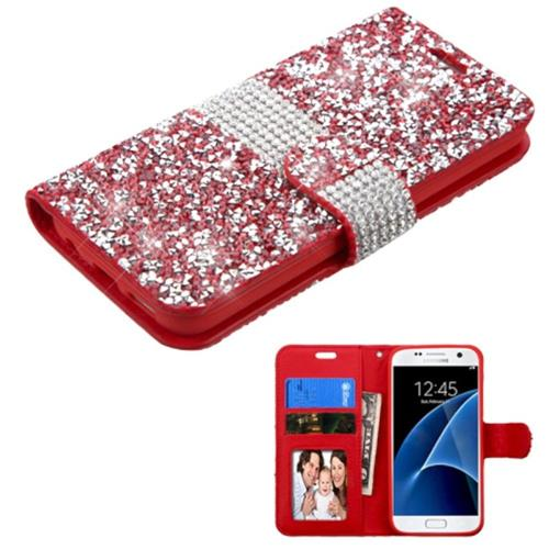 Insten Folio Leather Diamond Cover Case w/card slot/Photo Display For Samsung Galaxy S7, Red/Silver