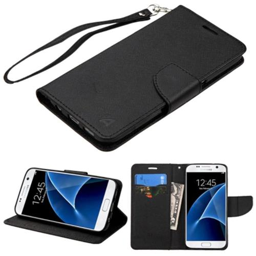 Insten Flip Leather Fabric Case Lanyard w/stand/card holder For Samsung Galaxy S7, Black