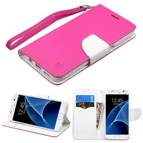 Insten Book-Style Leather Fabric Case w/stand/card slot For Samsung Galaxy S7, Hot Pink/White