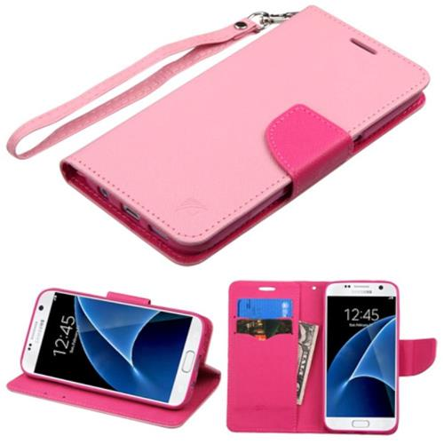 Insten Flip Leather Fabric Cover Case Lanyard w/stand/card holder For Samsung Galaxy S7, Pink