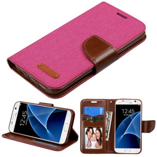 Insten Book-Style Leather Fabric Case w/stand/card slot/Photo Display For Samsung Galaxy S7, Pink