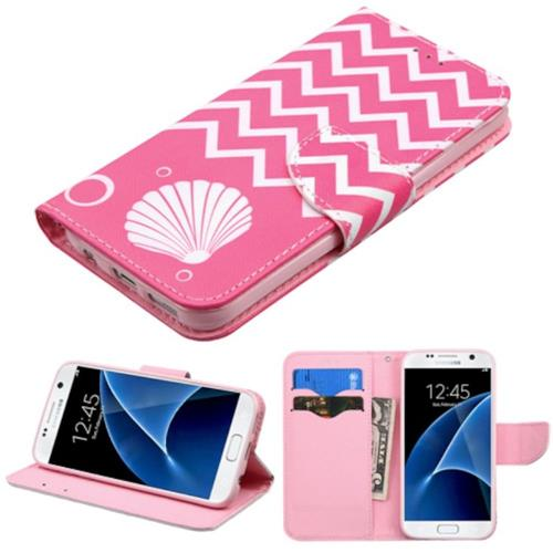 Insten Shell Folio Leather Fabric Cover Case w/stand/card slot For Samsung Galaxy S7, Pink/White