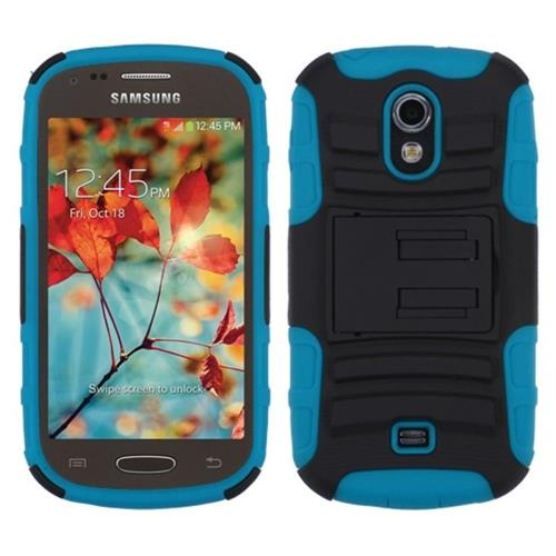 Insten Hard Dual Layer Plastic Silicone Cover Case w/stand For Samsung Galaxy Light, Black/Blue