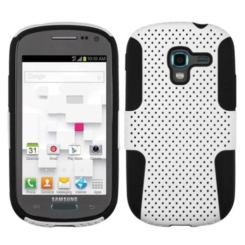 Insten Astronoot Mesh Hard Dual Layer Rubber Silicone Case For Samsung Galaxy Exhibit, White/Black
