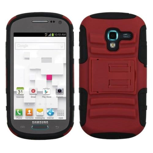 Insten Advanced Armor Hard Hybrid Silicone Case w/stand For Samsung Galaxy Exhibit, Red/Black