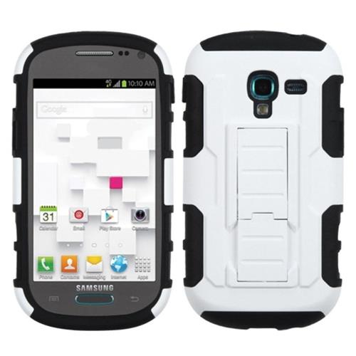 Insten Car Armor Hard Plastic Silicone Case w/stand For Samsung Galaxy Exhibit, White/Black