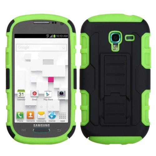 Insten Car Armor Hard Hybrid Silicone Case w/stand For Samsung Galaxy Exhibit, Black/Neon Green