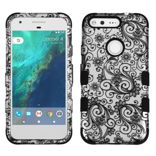 Insten Tuff Four-leaf Clover Hard Dual Layer Silicone Cover Case For Google Pixel, Black/White