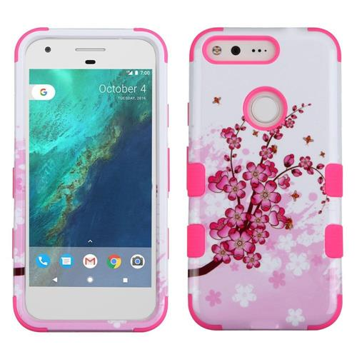 Insten Tuff Spring Flowers Hard Dual Layer Rubber Silicone Cover Case For Google Pixel, Pink/White