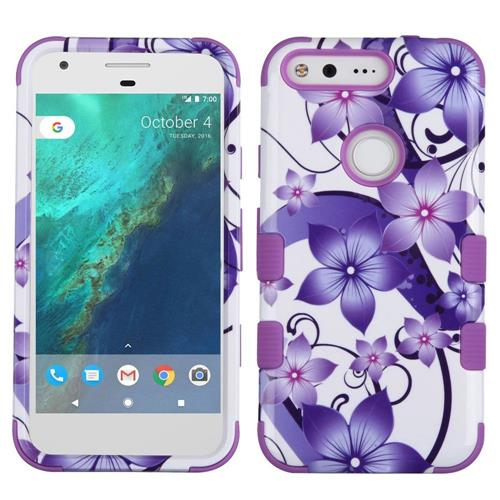 Insten Tuff Hibiscus Flower Romance Hard Dual Layer Silicone Case For Google Pixel, Purple/White