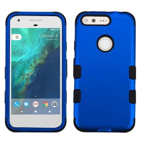 Insten Tuff Hard Dual Layer Rubberized Silicone Case For Google Pixel, Blue/Black