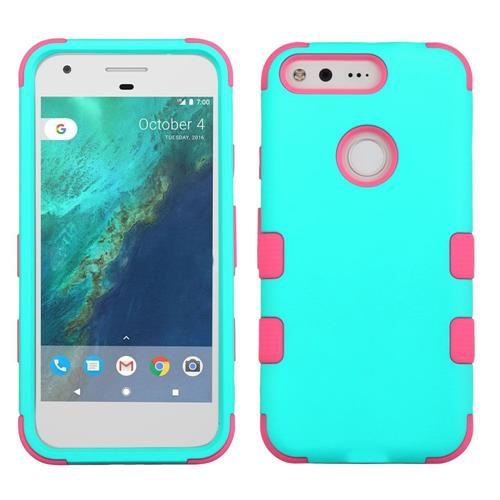 Insten Tuff Hard Hybrid Rubber Coated Silicone Case For Google Pixel, Teal/Pink