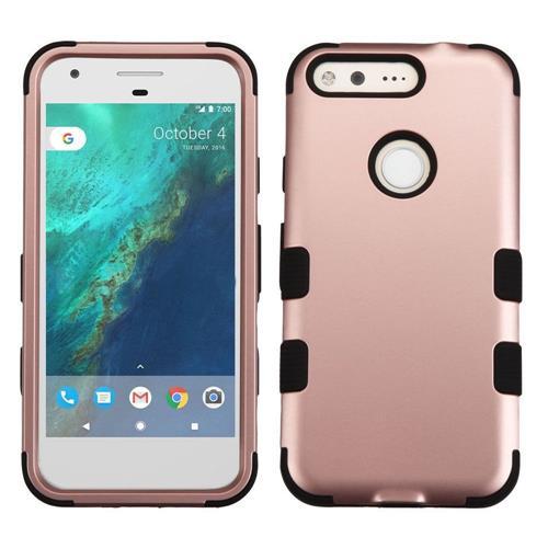 Insten Tuff Hard Hybrid Silicone Cover Case For Google Pixel, Rose Gold/Black