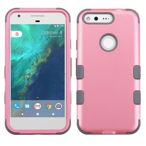 Insten Tuff Hard Hybrid Rubber Silicone Case For Google Pixel, Pink/Gray