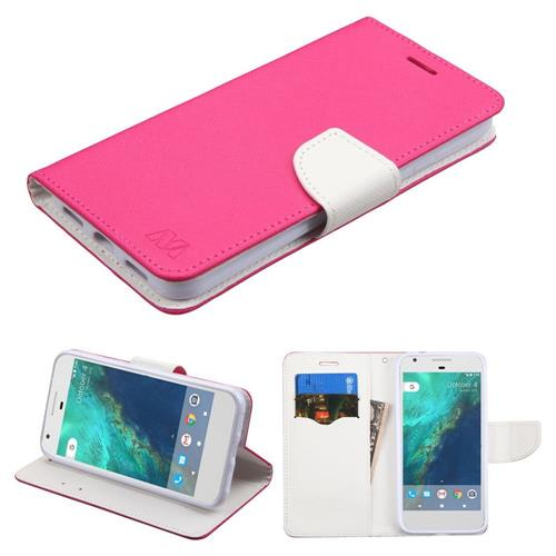 Insten Book-Style Leather Fabric Case w/stand/card slot For Google Pixel, Hot Pink/White